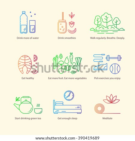 Set of vector flat icon: healthy lifestyle, habit and healthy food. Collection linear pictograms. Badges with diet and fitness theme. - stock vector