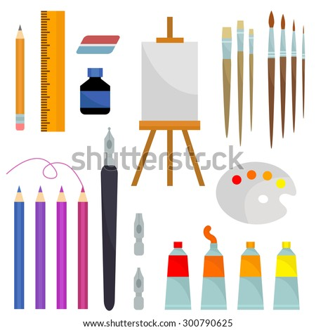Set of vector flat icons for painting on white background. Yellow, orange, blue, purple, violet, grey, pink, brown, black colors. Elements for design. - stock vector