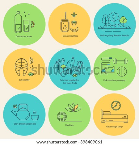 Set of vector flat icons healthy lifestyle, habit and healthy food. Collection linear pictograms. Badges with diet and fitness theme - sport, walking, fresh air, healthy food, schedule, water. - stock vector