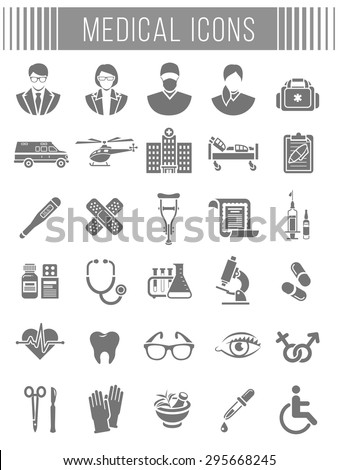Set of vector flat silhouette icons related to subject of medicine, first aid, patient transportation, health care, insurance, medical treatment, medicines and hospital personnel. Conceptual symbols - stock vector