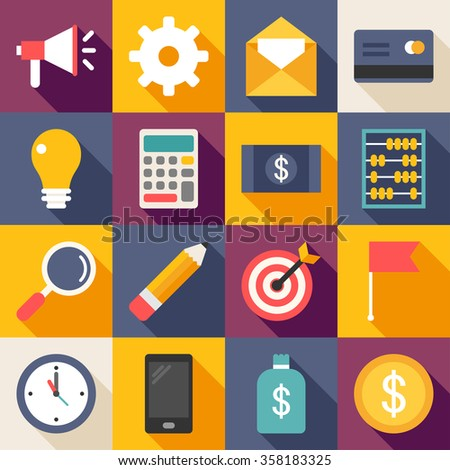 Set of Vector Flat Style Business Icons with Long Shadow. Promotion, Creative Idea, Accounting, Targeting, Searching, Banking - stock vector
