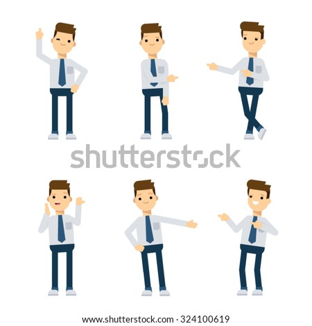 Set of vector flat style characters: office guy pointing in different directions. - stock vector