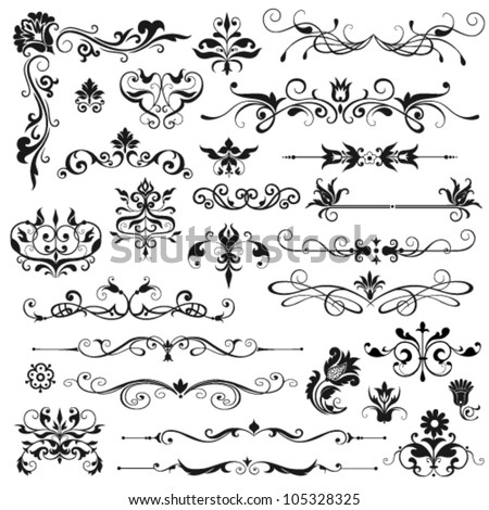 Set of vector floral elements for design - stock vector