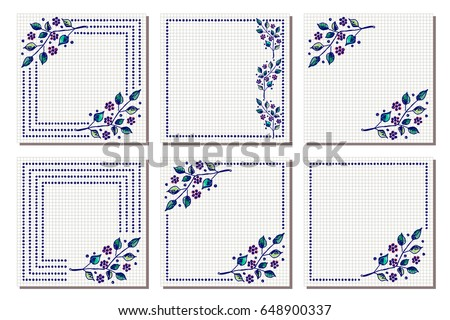 Set vector floral frame card border stock vector 648900337 set of vector floral frame card border greeting cards different template with m4hsunfo