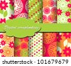 set of vector flower paper for scrapbook - stock photo