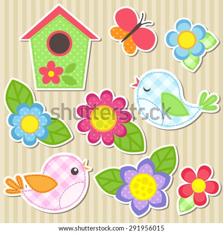 Set of vector flowers, birds, butterfly and birdhouse - stock vector