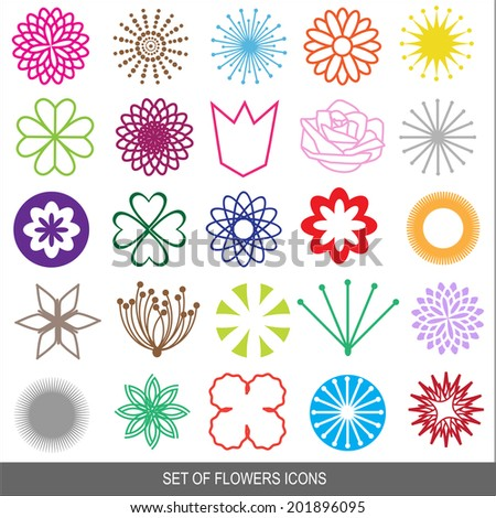 set of vector flowers icons - stock vector