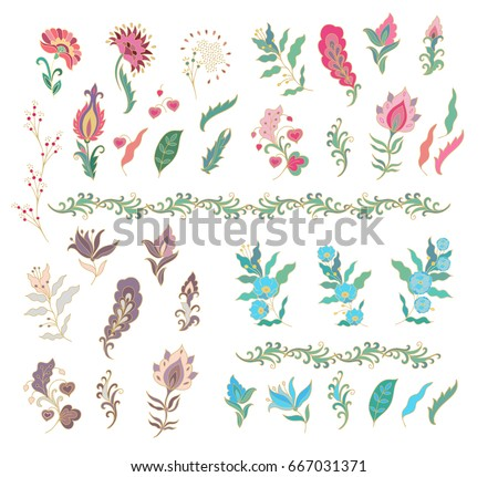Set of vector flowers on white background