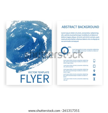 Set of vector flyer templates with blue watercolor paint splash. Abstract background for business documents, posters, cards, reports, publications, etc. - stock vector