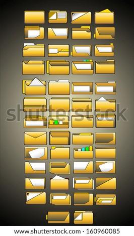 set of vector folder icons - stock vector
