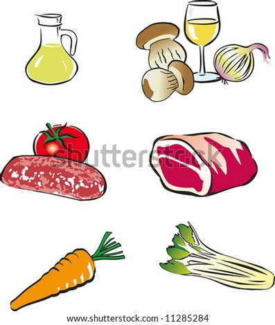 Set of vector food images.