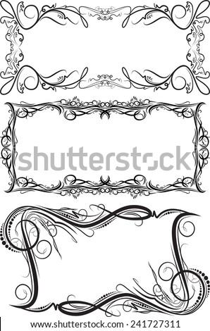Set of 3 vector frames - stock vector
