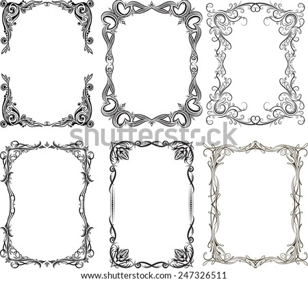 Set of 6 vector frames - stock vector