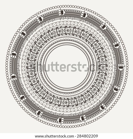 Set of vector frames in style stone Aztec calendar - stock vector