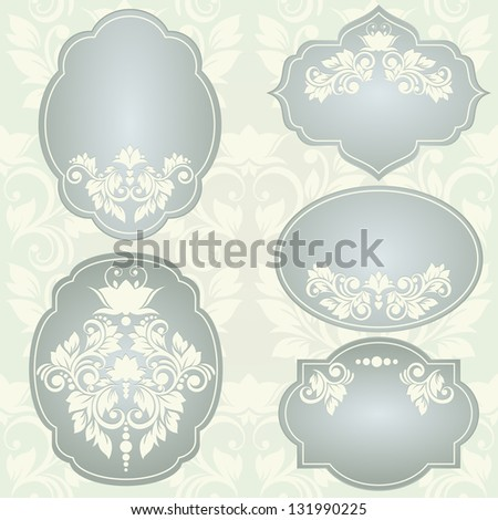 Set of  vector frames with floral ornaments - stock vector