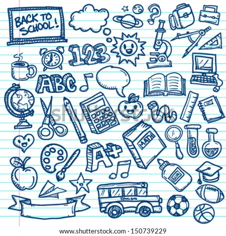 Set of vector freehand drawings of school icons on lined paper background.  - stock vector