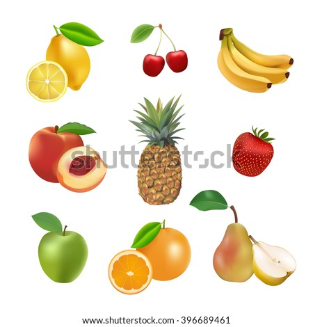 Set of vector fruits and berries. Lemon, banana, cherry, apple, strawberry, orange, pineapple, pear, peach  fresh organic collection. - stock vector