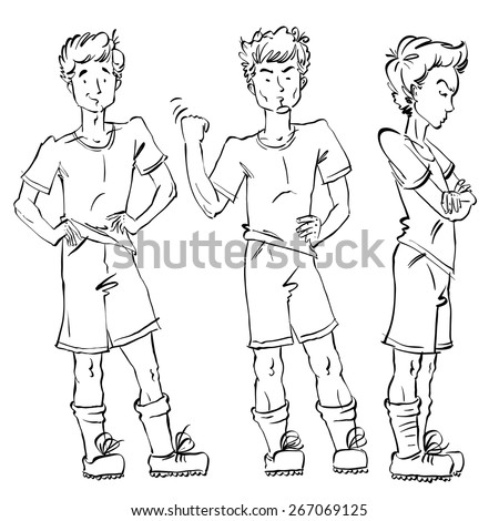 Set of vector full-length hand-drawn Caucasian teens, black and white sketch of angry youngster threatening the fist, monochrome illustration of standing adolescent with hand crossed on chest, akimbo. - stock vector