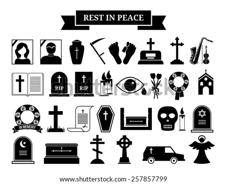 Set of vector funeral icons. Black silhouette and portrait tombstone, urn and ashes, wreath and hearse - stock vector