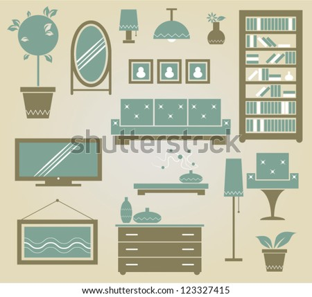 set of vector furniture icons for living room - stock vector