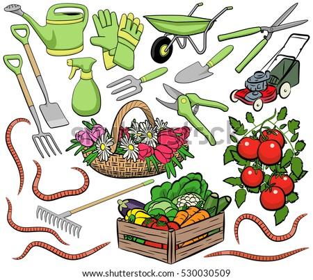 Set of vector gardening clip art including tools, produce and worms