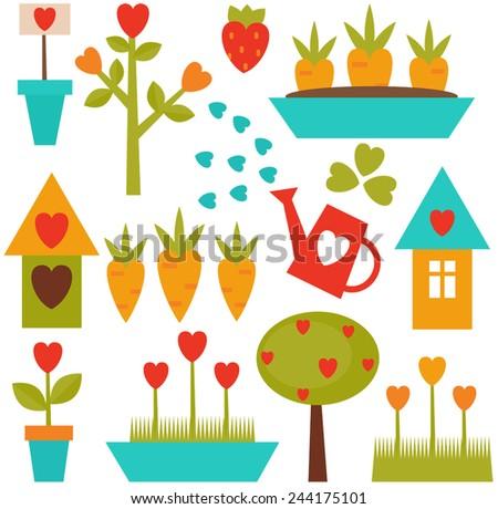 Set of vector gardening tools - stock vector