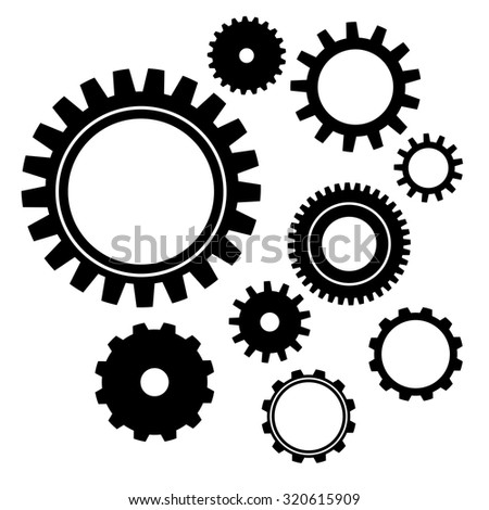 Set of vector gear wheels. Black cogs on white background - stock vector