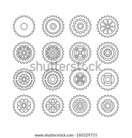 Set of Vector Gears - stock vector