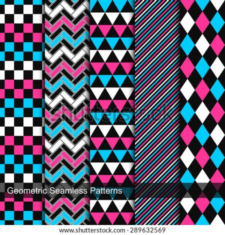 Set of vector geometric seamless patterns. - stock vector