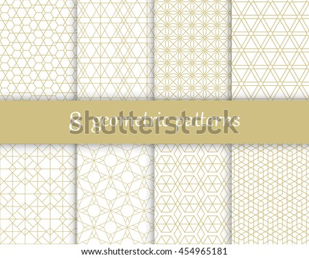 Set of vector geometric textures. Collection of seamless patterns for your design.