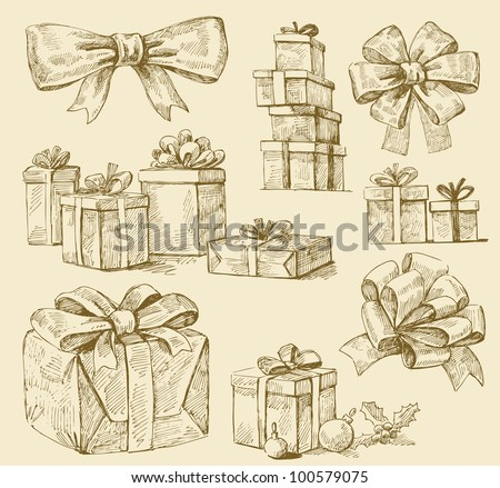 set of vector gift boxes - stock vector