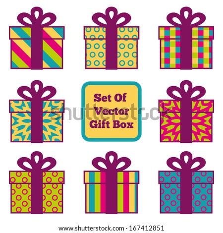 Set Of Vector Gift Boxes For Your Design