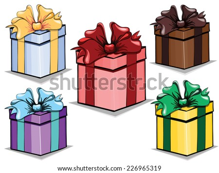 Set of vector gift boxes isolated on white - stock vector