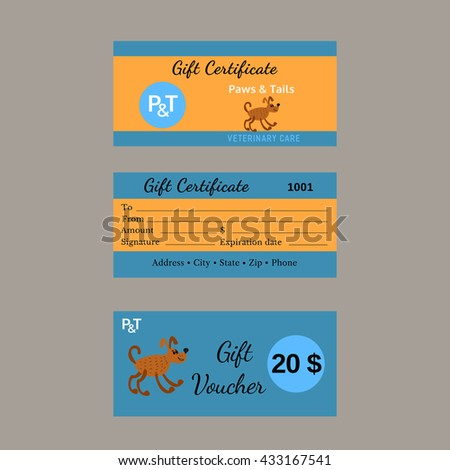 Set Vector Gift Certificates Pet Care Stock Vector Hd Royalty Free