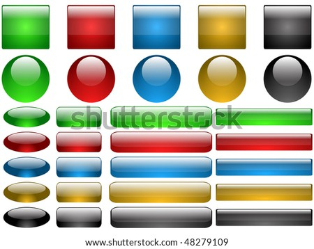 Set of vector glass buttons