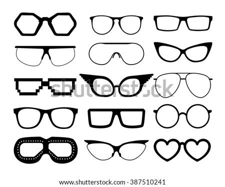 Set of vector glasses on white background, including  aviation and pixel style goggles. - stock vector