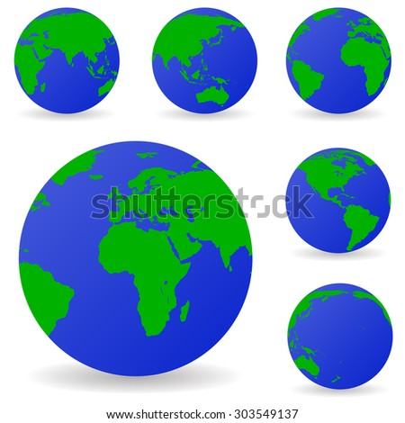 set vector globe icons showing earth stock vector royalty free rh shutterstock com free vector globe download free vector globe images