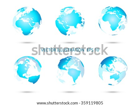 Set of vector globe icons showing earth with all continents.Vector illustration. - stock vector
