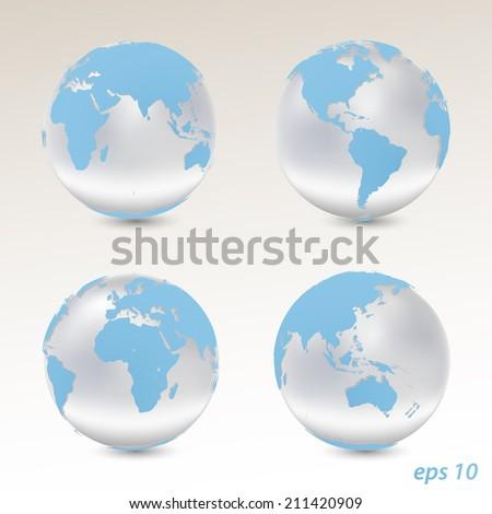 Set of vector globes - stock vector