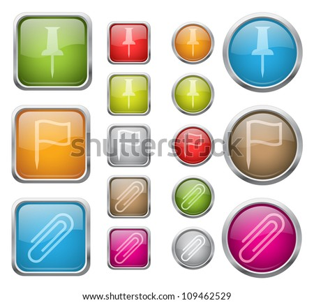 Set of vector glossy buttons with office sign icons - stock vector