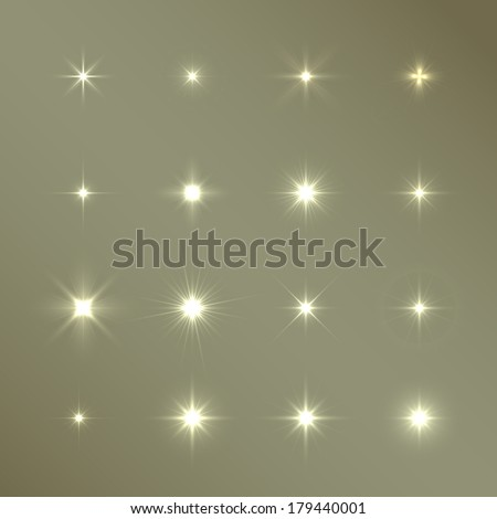 Set of Vector glowing light effect stars bursts with sparkles - stock vector