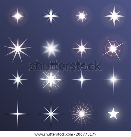 Set of Vector glowing light effect stars bursts with sparkles on dark background. Transparent vector stars. - stock vector
