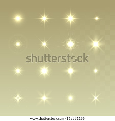 Set of Vector glowing light effect stars bursts with sparkles on golden background. Sparkling stars set. Christmas stars. - stock vector
