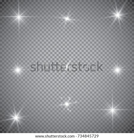 Set of Vector glowing light effect stars bursts with sparkles on transparent background. Transparent stars.
