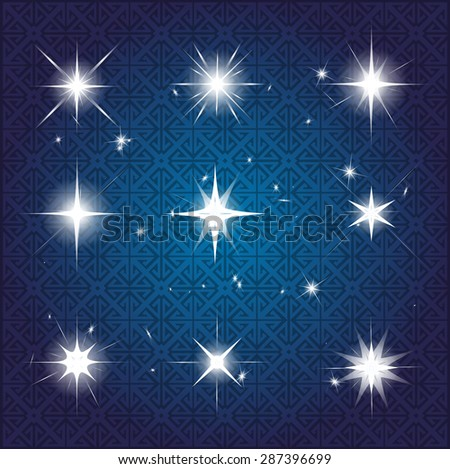 Set of Vector glowing light effect stars bursts with sparkles. Shine star glitters. vector illustration - stock vector