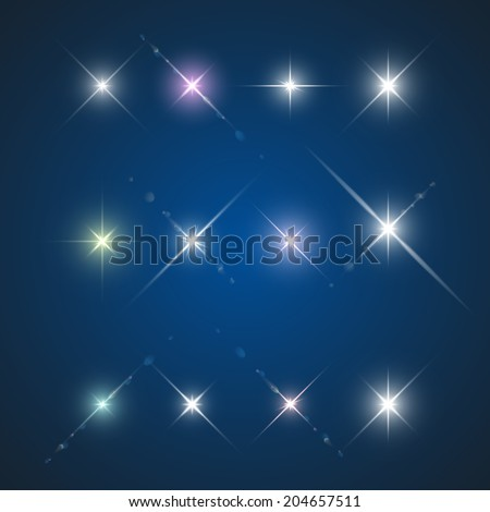 Set of Vector glowing light with lens effect in stars form.