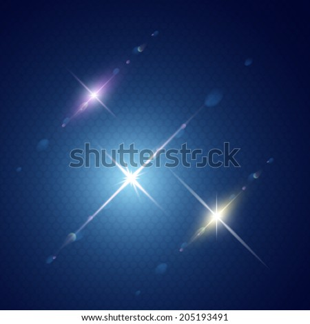 Set of Vector glowing light with lens effect in stars form. - stock vector