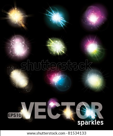 Set of Vector glowing special light effect star bursts with sparkles - stock vector