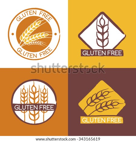 Set of vector gluten free product badges, labels, stickers. Wheat ears logo design template. Watercolor brush illustration. Abstract concept for organic products, harvest, grain, bakery, healthy food.