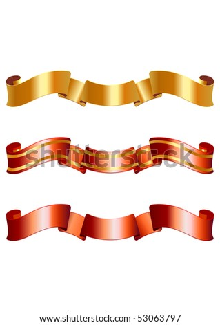 Set of vector golden and red ribbons - stock vector